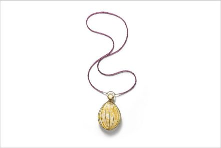 "Tears of Time Necklace with Baltic Amber ""The Golden Cage""(amber, garnet, 585) Unique     SINCO CO., LTD."