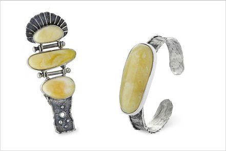 Hand forged silver bracelet with baltic amber and triple pendant with baltic amber - set     STUDIO DF DOMINIKA FRACZKIEWICZ
