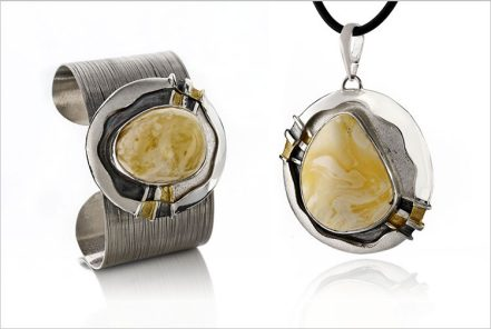 Silver round bracelet and pendant with white baltic amber and gilding - set     STUDIO DF DOMINIKA FRACZKIEWICZ